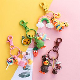 trinket toys Australia - Cute 3D Dressing Yellow Duck Keychain Duckling Key Chain Children's Bag Pendant Figure Toys Keyring Best Birthday Gift Trinkets