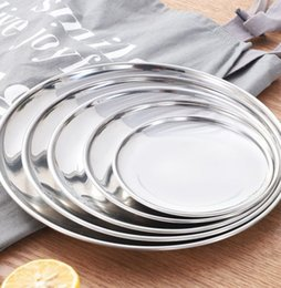 Wholesale 5 Size Stainless Steel Dinner Dish Flat Plate Kitchen Tableware Dinnerware Restaurant Severing Tray Food Container Tray KKA7099