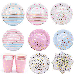 Colorful disposable Cups online shopping - Disposable Dinnerware Colorful Gold Disposable tableware Plate Cup Napkins Star for baby birthday party Wedding decoration