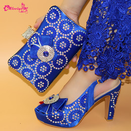 women bags navy blue Australia - Latest Italian Design Rhinestone Royal Blue Party Shoes And Bag Set Nigerian Summer High Heels Shoes And Bag Set For Woman