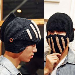 knitted helmet 2019 - Fashion Keep Warm Men Unisex Roman Knight Helmet Caps Cool Handmade Knit Hat Winter Hats Gorro Funny Party Mask Beanies