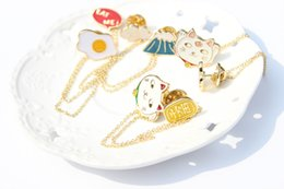 brooches needles Australia - 12pcs 5 Styles Pin Cute Korean version of the jewelry lively and lovely Fujiyama planet omelette lucky cat cloud collar needle brooch