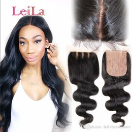 human hair weave part silk closures UK - Cheap Malaysian Silk Base Human Hair 4X4 Lace Closure Body Wave Silk Base Bleached knots From Leilabeautyhair Weaves Closure