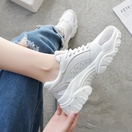 Chinese  Crystal2019 Shoe Dad Woman Ulzzang Student Genuine Leather Exceed Fire Increase Thick Bottom Tide Motion Casual Shoes manufacturers