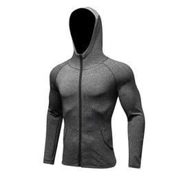 mens denim hoodie UK - Winter Tracksuit Long Sleeves Running Shirt Zipper Hoodies Mens Jacket Coat Compression Shirt Tight Gym Outdoor Fitness Jersey #687827