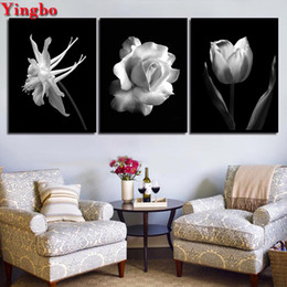 $enCountryForm.capitalKeyWord Australia - 3 Pieces Nordic Black White Abstract Flower diamond Painting 5d diy diamond embroidery mosaic Pictures for living room decor