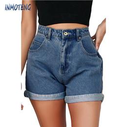 White High Waisted Shorts NZ - INMOTENG Blue White Black Vintage Denim High Waisted Folded Hem Jeans Shorts New Femme Push Up Skinny Slim Denim Shorts S-2XL