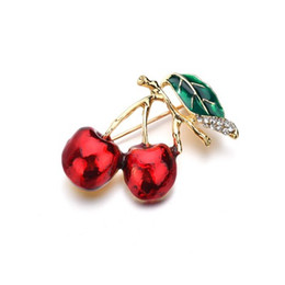 $enCountryForm.capitalKeyWord UK - Red Enamel Brooches For Women Kids Cherry Brooch Corsage Small Bouquet Hijab Pins Feminino Party Dress Accessories b500