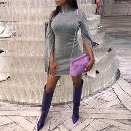 $enCountryForm.capitalKeyWord Australia - Sexy Xxl Slit Long Sleeve Shiny Bodycon Dress Women Turtleneck Slim Club Glitter Party Dress Female Mini Autumn Dresses designer clothes