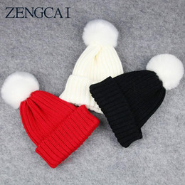 $enCountryForm.capitalKeyWord NZ - 2017 New Winter Children Knitted Hat Cap Warmmer Girls Boys Candy Color Beanies Thick Wool Hats Solid Cute Ball Baby Kids Bonnet