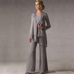 $enCountryForm.capitalKeyWord NZ - Mother of The Groom Grey Chiffon Bridal Mother Bride Pant Suits With Jacket Women Evening Pant Suits robe de mere de mariee