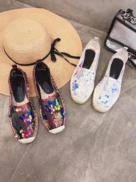 fishermen flats NZ - Sequins retro fisherman women's braided flat shoes single flat with Lok Fu shoes lazy one foot women's shoes bling tide