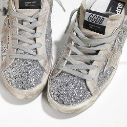 3b17971cb54b5d Goose golden Sneakers SUPER STAR in Pelle spalmata all over glitter e  Stella in Camoscio SILVER MOON men and women GGDB Casual Shoes