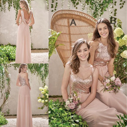 Cheap Rose Red Bridesmaid Dresses Australia - Rose Pink Long Bridesmaid Gowns A Line Spaghetti Backless Sequins Chiffon Cheap Wedding Guest Dress Maid of Honor Gowns