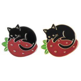 Black Cat Pin NZ - Black Cat Snuggling Strawberry Brooch Cat Badge Hard Enamel Pin Collection Button Collar Decor Handbag Kids Jacket Denim Hat Accessory