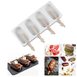 $enCountryForm.capitalKeyWord Australia - Food Safe Silicone Ice Cream Molds 4 Cell Frozen Ice Cube Molds Popsicle Maker DIY Homemade Freezer Ice Lolly Mould