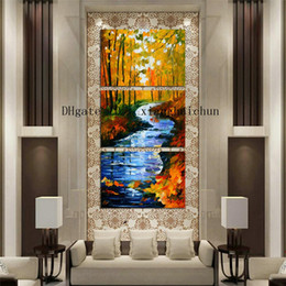Oil Paint Abstract Forest Hd Australia - Leonid Afremov : Forest River,3 Pieces Home Decor HD Printed Modern Art Painting on Canvas (Unframed Framed)