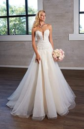 $enCountryForm.capitalKeyWord Australia - Lace Wedding Dresses Plunging Neckline Applique Tulle Wedding Dress Bridal Gowns Zipper with Button Vestido de Novia