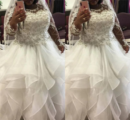 $enCountryForm.capitalKeyWord NZ - 2019 Gorgeous Tiered Wedding Dresses With Illusion Long Sleeves Jewel Neck Beads Country Church Bridal Gowns Castle Chapel Vestidoe De Noiva