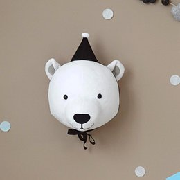 plush toy animal heads NZ - Baby Room 3D Animal Head Wall Mount Bear deer elephant Wall Hanging Toys Kids Room Animal Wall Plush Toy Room Decoration