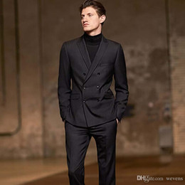 Cheap Black Suits For Men Australia - Black Wedding Tuxedos Slim Fit Suits For Men Business Jacket And Pants Groomsmen Suit Two Pieces Double Breasted Cheap Prom Formal Suits