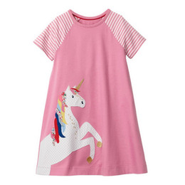girls short pleated skirts UK - Cotton Stripes Print And Unicorn Embroidery Girls Dresses A-line Skirt Design Easy Fitting Kid Clothes Play Dress