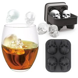 4 Grids 3D Skull Head Ice Cube Mold Halloween Skull Shaped Whisky Wine Ice Cube Tray Maker Chocolate Mould Bar Party Supplies on Sale