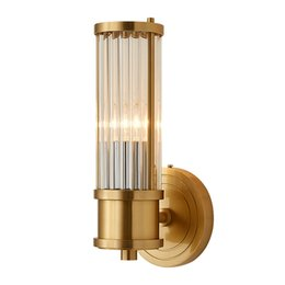 China Modern Gold Wall Lamp Luxury Glass Lampshade LED Wall Sconces Lighting AC90-260V Copper Wall Light cheap lampshade glass crystals suppliers