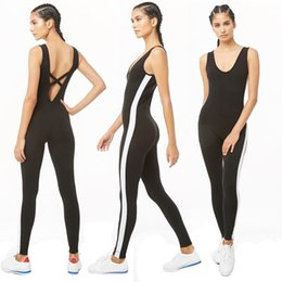 black fitted jumpsuits Australia - Women Black Sexy Cross Line Beautiful Back Side White Stripe Running Suits Yoga Dance Jumpsuits Tight Fit Sports Fitness Gym Set