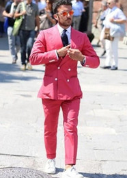 $enCountryForm.capitalKeyWord Australia - Brand New rose Red Men Wedding Tuxedos Double-Breasted Groom Tuxedos Excellent Men Blazer 2 Piece Suit Prom Dinner Jacket(Jacket+Pants+Tie)6