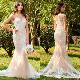 $enCountryForm.capitalKeyWord Australia - New Mermaid Wedding Dress Appliques Sequin Cap Short Sleeve Lace Applique Wedding Bride Gowns With Sash