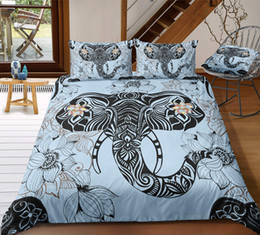 $enCountryForm.capitalKeyWord Australia - Thumbedding Dropship Elephant and Lotus Bedding Sets On Sale Beautiful 3D Duvet Cover Set Animal Printed 100% Microfiber Bed Set 3pcs