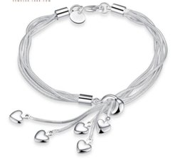 wholesale silver christmas stockings Australia - 925 Silver Plated Tassel Love Pendant Bracelet 2 pcs simple jewellery new fashion high quality in stock wholesale