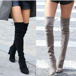 Thighs High Boots Australia - Women Winter Thigh High Boots Suede Leather High Heels Lace up Female Over The Knee Boots Fashion Plus Size Shoes Drop Shipping