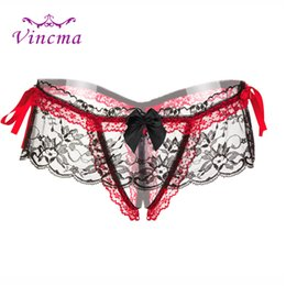 string bow tie NZ - Women's Lace Flower Bow Tie Open Crotch Hollow Sexy Panties Thongs And G Strings Women Erotic Lingerie Bragas Sex Culotte Femme