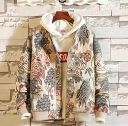 Venta al por mayor de Envío de la gota de la chaqueta de los hombres del bordado japonés Hip Hop Streetwear 5XL chaqueta de la capa Bomber 2018 Otoño Nueva ropa
