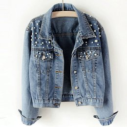 ladies short black cotton jackets NZ - Autumn Casual Long Sleeves Single Breasted Pockets Lady Pearls Rivet Beaded Denim Jean Trucker Jacket Button Down Jean Short Coat Outercoat