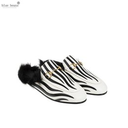 Discount med hair - Sexy2019 Blue Beans Zebra Striped Flat Bottom Noble Muller Shoes Genuine Leather Black Rabbit Hair Warm In Slippers