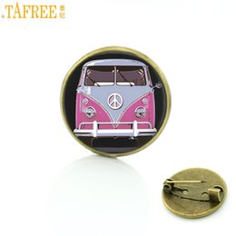 round hippie glasses NZ - TAFREE new vintage Hippie Peace Sign Bus brooches glass cabochon car photo badge brooch pins fashion men women jewelry CT89
