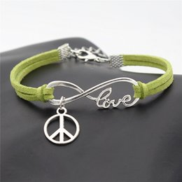 Love Peace Charms Australia - Green Leather Suede Weave Bracelets Bangles Female Male Punk Infinity Love Peace Symbols Round Wristband Casual Braided Jewelry Street Style