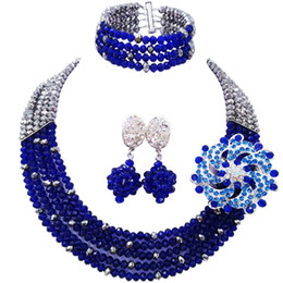 $enCountryForm.capitalKeyWord NZ - Beautiful Silver Plated Royal Blue Crystal Beads Nigerian Party or Festival Jewelry Set 5C-SZ-36