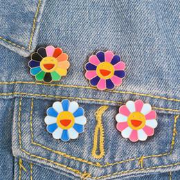 Wholesale African Shirts Australia - Sun Flowers enamel pin Colorful Smile Face Brooch Lapel pin Denim Jeans shirt bag Cartoon Cute Jewelry Gift for Kids Girls
