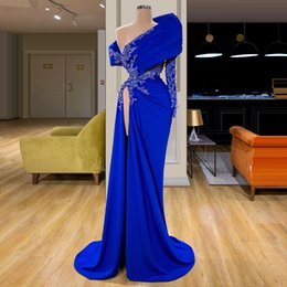 turkish soiree dresses UK - 2020 Royal Blue One Shoulder Split Prom Dress Long Arabic Lace Robe De Soiree Turkish abiye Beaded Formal Party Evening Gowns