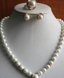 Fresh Water Pearl Charms NZ - jewelry Miss charm Jew.402 Variety of beautiful fresh water Pearl Necklace sets earrings + rings + 18''