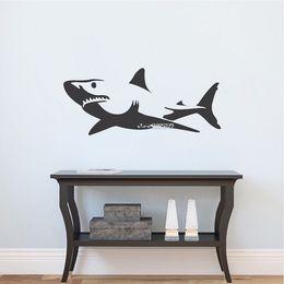 $enCountryForm.capitalKeyWord NZ - Most Popular Home Decor Truculent Great Shark Wall Sticker Living Room Kids Room Decorative Vinyl Removable Wall Decor
