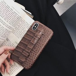 clear iphone skins Canada - Crocodile Skin Cases For Apple iPhone 11 PRO XS MAX Protection PU Leather Back Cover Coque Fundas Withe Lanyard Stand