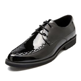 loafers wedding suit UK - Handmade Men Formal Shoes Patent Leather Office Business Wedding Suit Dress Loafers Mens Black Oxford Bride Shoes