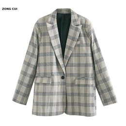 plaid jackets for women Canada - Retro fashion single breasted Plaid suit coat for women 2020 fashion split collar long sleeve pocket loose chic coat Jackets XS