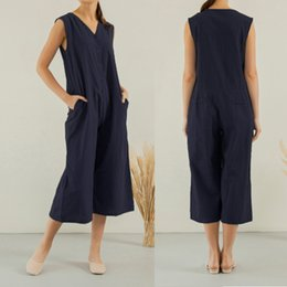 $enCountryForm.capitalKeyWord Australia - Women Wide Leg Romper 2019 Celmia Summer Sleeveless Dungaree Vintage Overalls Pockets Casual Loose Jumpsuit Long Trousers S-5XL