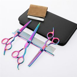 Rainbow sheaRs online shopping - Stainless Steel Scissors Hair Professional Barber Salon Hairdressing Shears Cutting Styling Tool Inch Rainbow Pets Scissors